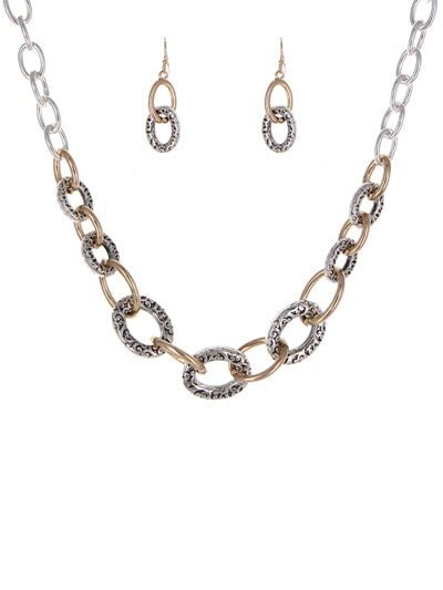 Textured Link Necklace Set |Two-Tone - Lunga Vita Designs