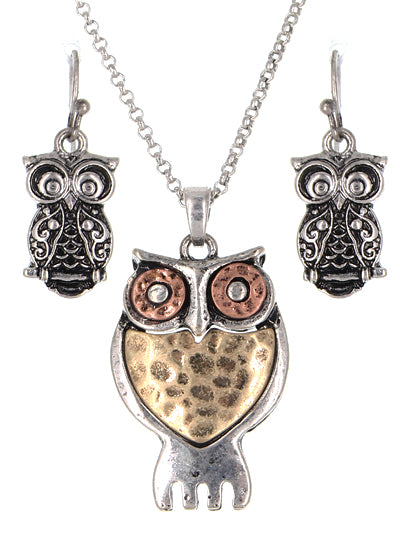 MIXED METAL OWL NECKLACE SET