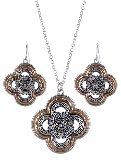Two-Tone Textured Clover Tailored Necklace Set - Lunga Vita Designs