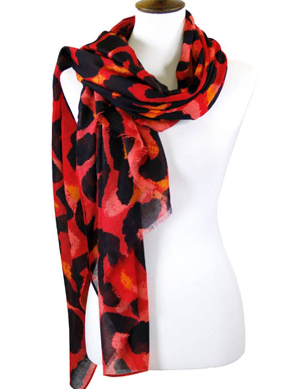 ANIMAL PRINT SCARF | RED