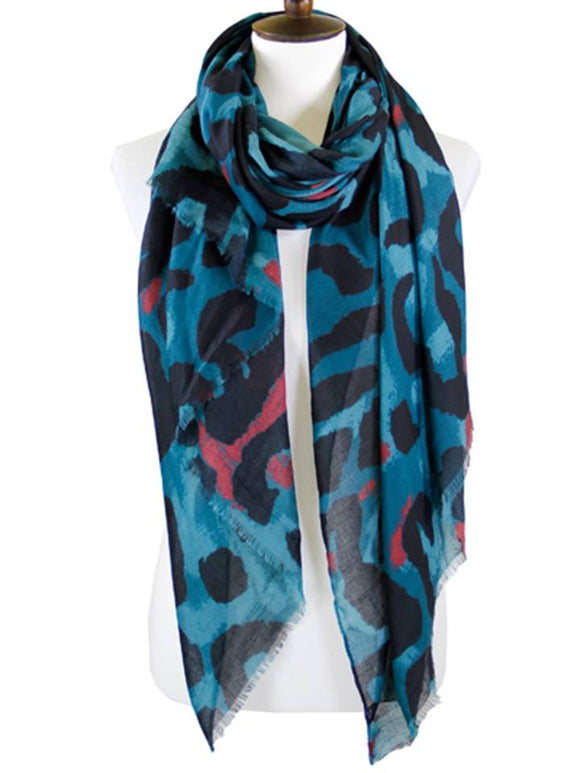 ANIMAL PRINT SCARF | TEAL