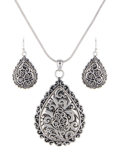 Silver Tailored Filigree Teardrop Necklace Set - Lunga Vita Designs