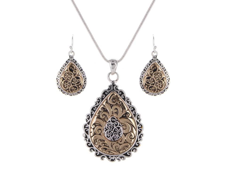 Two-Tone Filigree Tailored Teardrop Necklace Set - Lunga Vita Designs