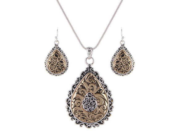TWO TONE FILIGREE TEARDROP NECKLACE SET