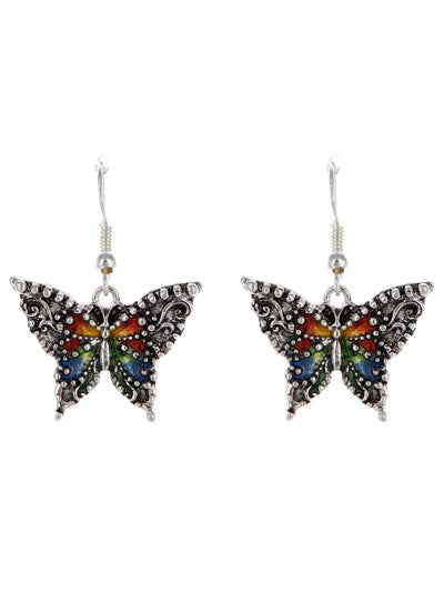 Butterfly Earrings with the Colors of the Rainbow - Lunga Vita Designs