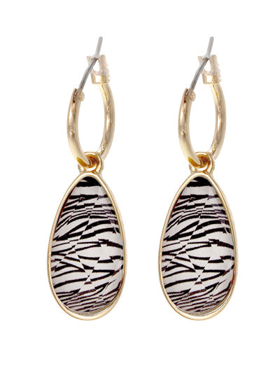 Animal Print Teardrop Dangle Earrings | Black & White - Lunga Vita Designs