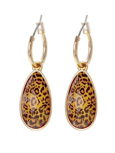 Animal Print Teardrop Dangle Earrings | Yellow - Lunga Vita Designs