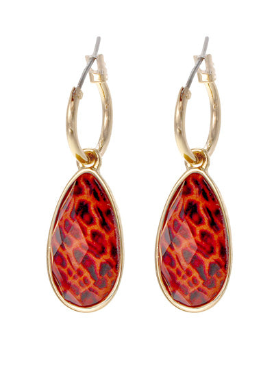 Animal Print Teardrop Dangle Earrings | Red - Lunga Vita Designs