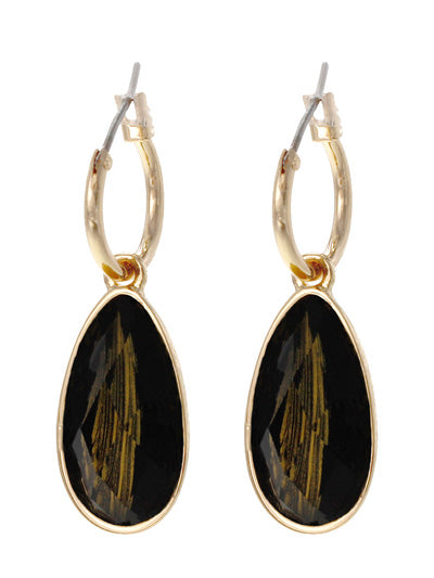 Resin Teadrop Dangle Hoop Earrings | Black - Lunga Vita Designs