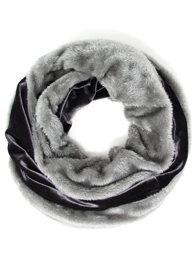 VELVET AND FAUX FUR INFINITY SCARF | CHARCOAL