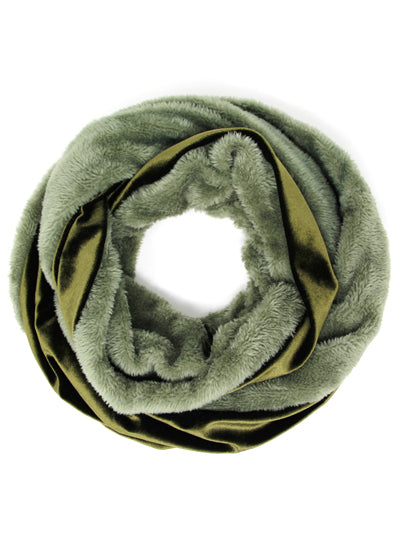 VELVET AND FAUX FUR INFINITY SCARF | OLIVE