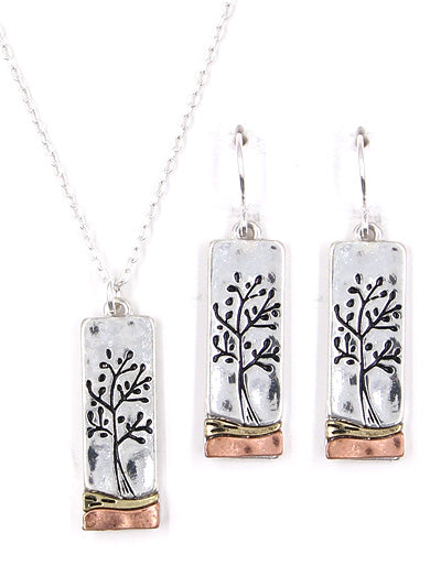 Tricolor Rectangular Tree of Life Pendant Necklace with Matching Earrings - Lunga Vita Designs