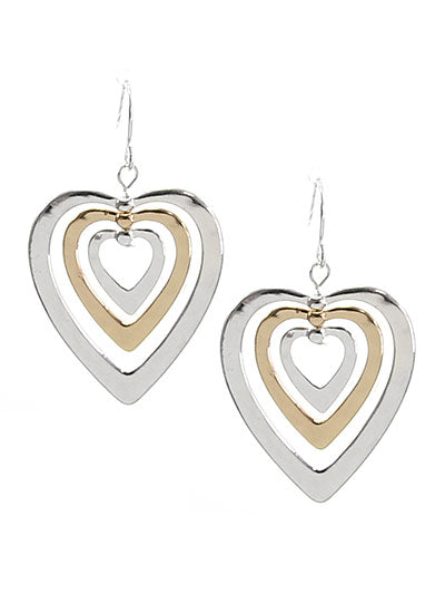 THREE HAMMERED HEARTS EARRINGS | TWO TONE
