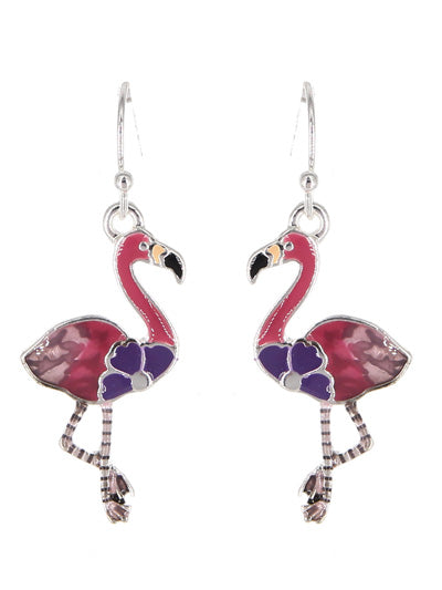 Pink Flamingo Enamel Dangle Earrings - Lunga Vita Designs