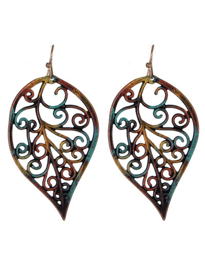 Curly Multicored Patina Filigree Dangle Earrings - Lunga Vita Designs
