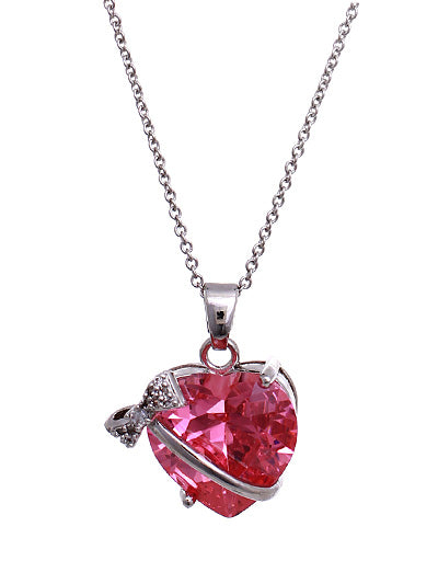 RIBBON & BOW PINK CZ HEART NECKLACE