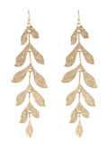 Long Leafy Matte Gold Dangle Earrings - Lunga Vita Designs