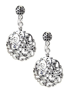 ROUND SILVER FILIGREE PATTERNED CLIP ON EARRINGS