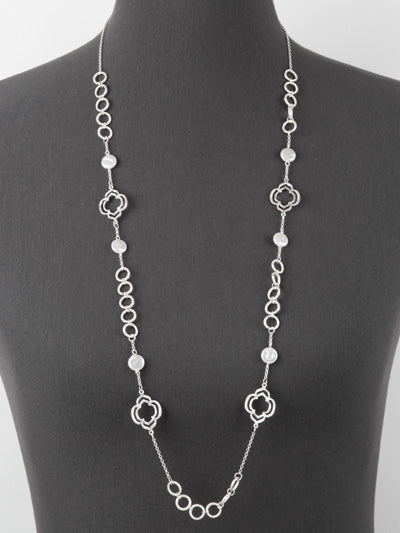 BUTTON PEARL LONG LINK NECKLACE | SILVER