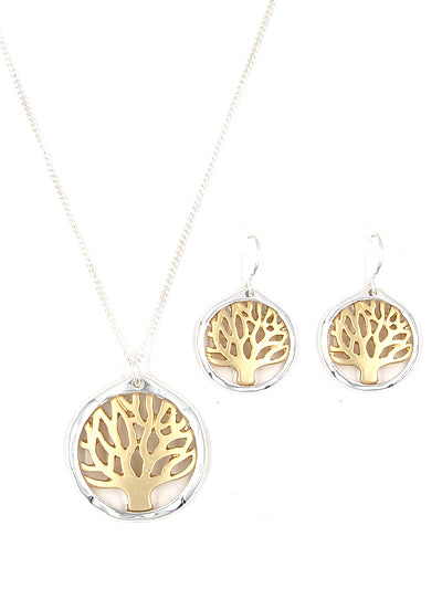 Matte Round Two-Tone Tree of Life Pendant Neckset Set with Matching Dangle Earrings - Lunga Vita Designs