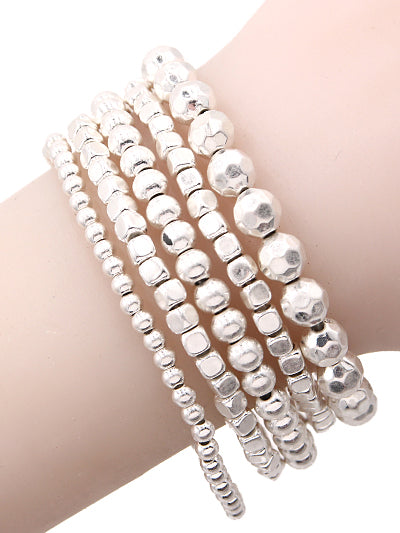 Five Beaded Matte Silver Stackable Stretch Bracelets - Lunga Vita Designs