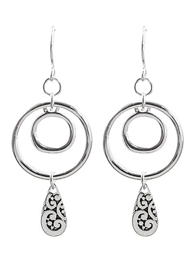 DOUBLE CIRCLE DANGLE EARRINGS WITH TEARDROP