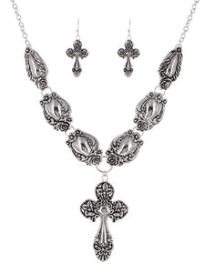 ANTIQUE SPOON INSPIRED CROSS NECKLACE SET