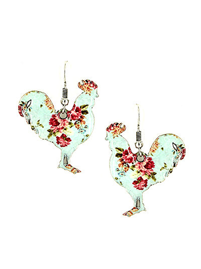 COLORFUL ROSES ENAMEL ROOSTER EARRINGS | SILVER / BLUE
