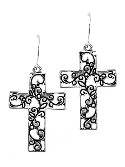 Silver Filigree Cut-Out Cross Dangle Earrings - Lunga Vita Designs