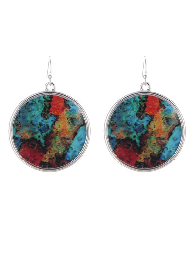 Color Accents Abstract Circular Dangle Earrings | Red & Aqua - Lunga Vita Designs