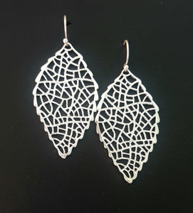 Leaf Filigree Cut-Out Worn Silver Dangle Earrings - Lunga Vita Designs