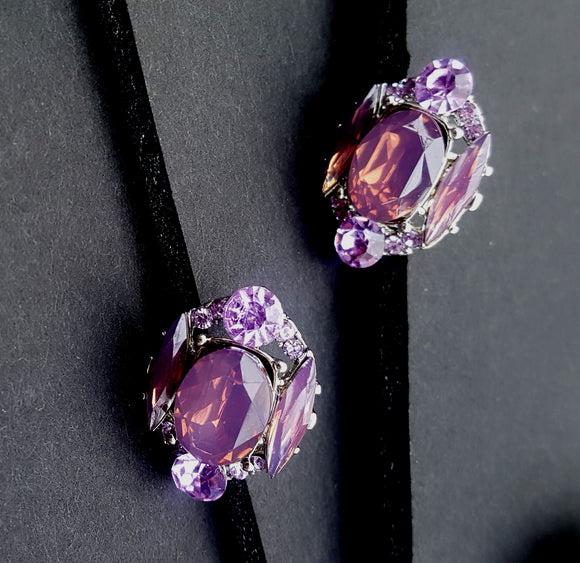 ANTIQUE FACETED CRYSTAL POST EARRINGS | AMETHYST