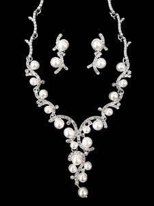 BRIDAL PEARL AND RHINESTONE NECKLACE SET | SILVER