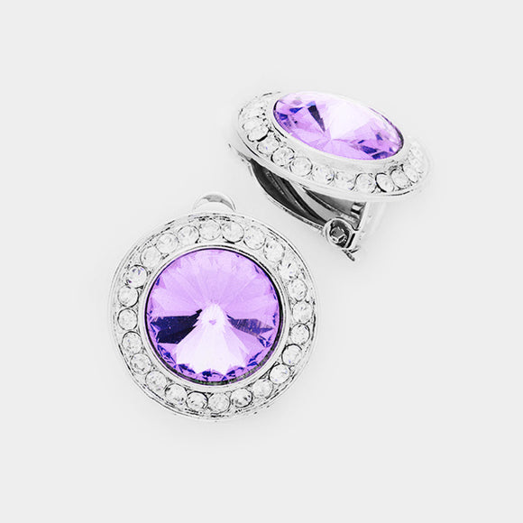 VIOLET ROUND CLIP-ON EARRINGS