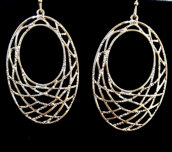 Oval Dangle Earrings | Worn Gold - Lunga Vita Designs