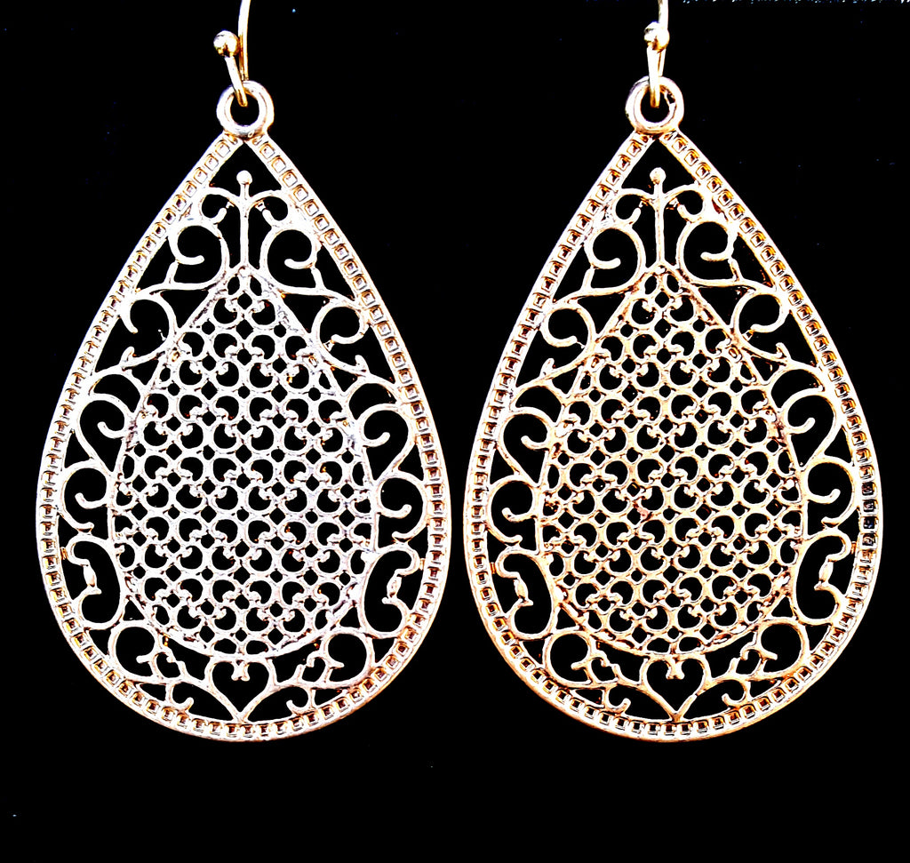 Large Filigree Teardrop Dangle Earrings | Worn Gold - Lunga Vita Designs