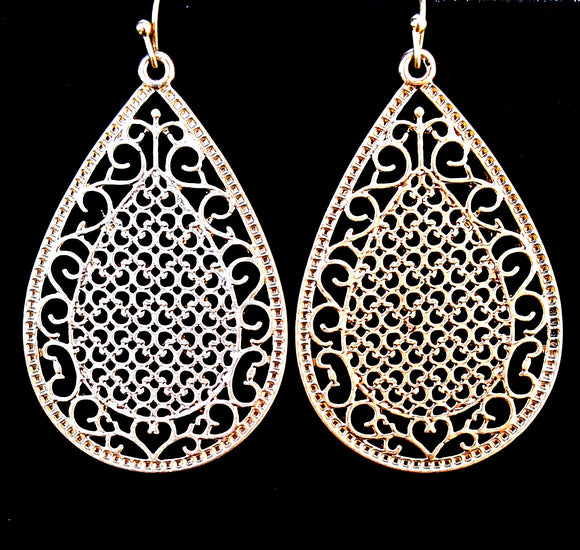 LARGE TEARDROP FILIGREE DANGLE EARRINGS | GOLD