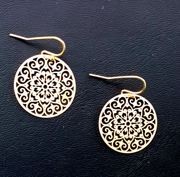 LACY SMALL CIRCLE DANGLES | GOLD
