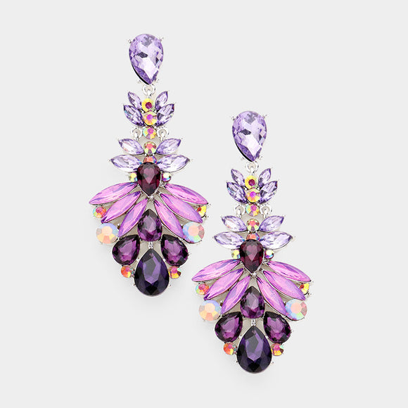 PURPLE GLAM DANGLE EARRINGS