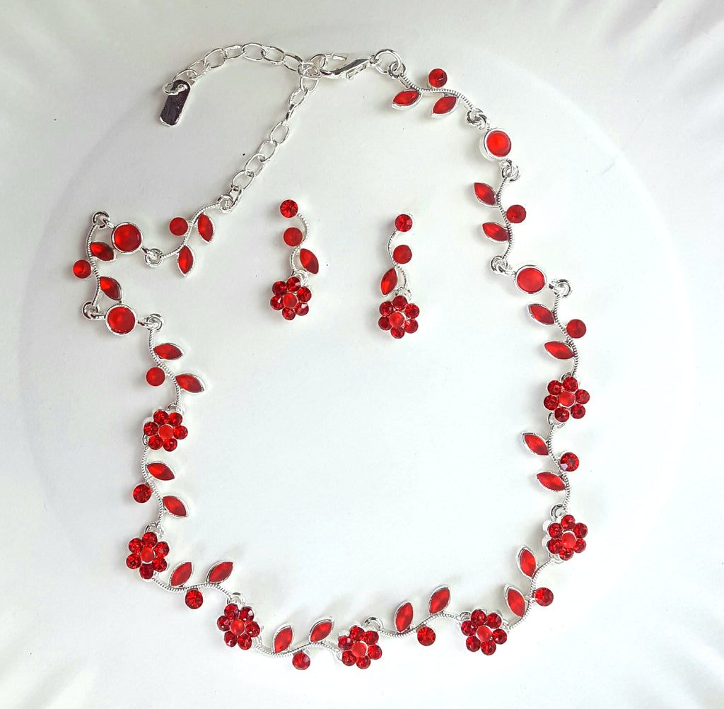 Crystal Cluster Necklace and Earrings Set | Red - Lunga Vita Designs
