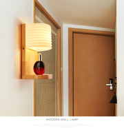 Modern Solid Wooded Wall Light With Shelf B Style / Warm Light Flush Mount
