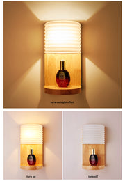 Modern Solid Wooded Wall Light With Shelf Flush Mount