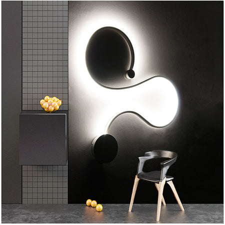 Modern Curled Wall Or Ceiling Light (Various Opions) Style D / Warm White Finished Semiflush Mount