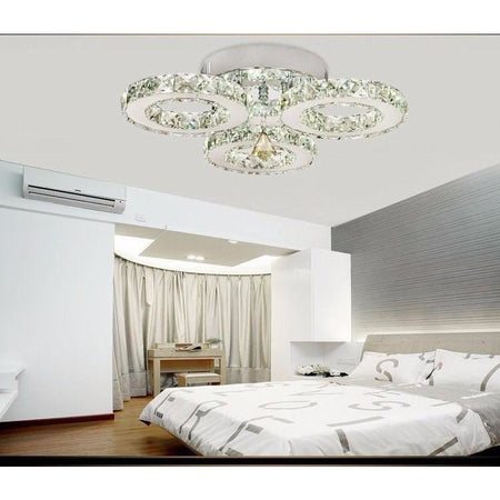 Modern Triple Ring Crystal Chanderlier Flush Mount