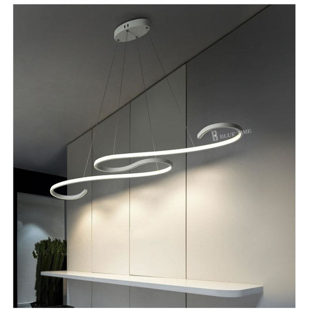 Modern Curved Pendant Chandelier (Various Options) White Finished / Yes L108Cm 45W Warm White Semiflush Mount