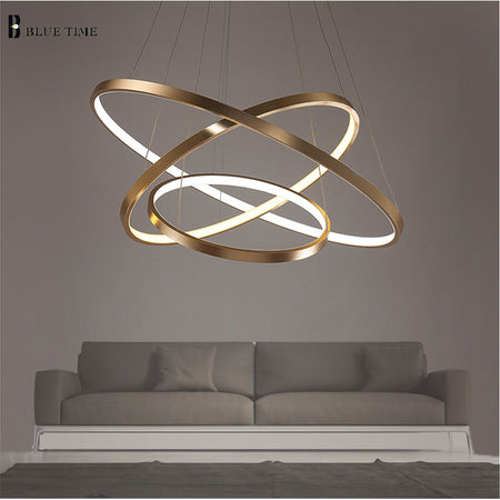 Modern Ring Chandelier (Various Options) Gold Finish / Warm White No Remote 40Cm 1 Ring Flush Mount