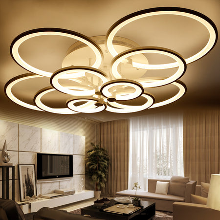 Modern Ringed Style Light (Various Options) 10 Rings 120W / Warm White No Remote Flush Mount