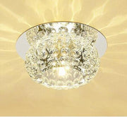 Modern Simple Round Or Square Crystal Chandelier Conceal / Warm Light Round Style Semiflush Mount