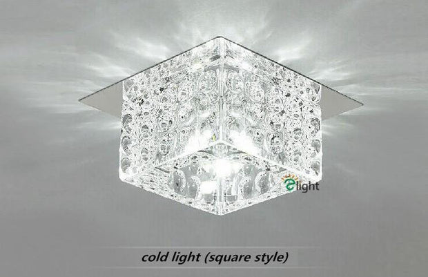 Modern Simple Round Or Square Crystal Chandelier Conceal / White Light Square Style Semiflush Mount