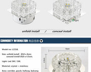 Modern Simple Round Or Square Crystal Chandelier Unfold / White Light Square Style Semiflush Mount